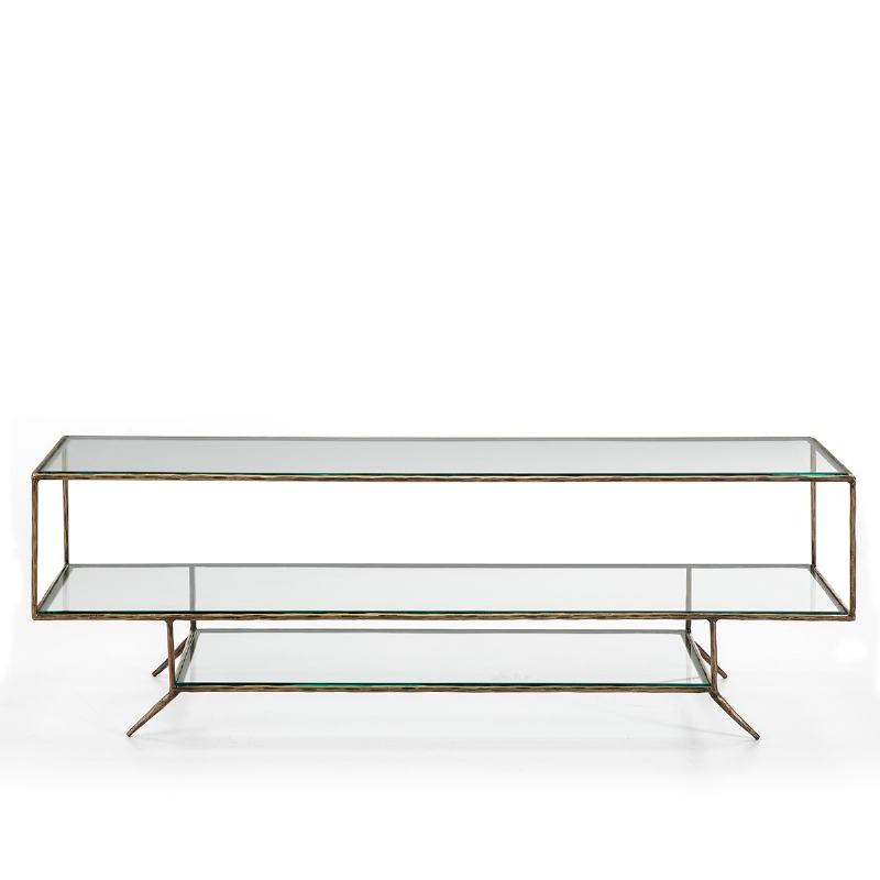 Tv Furniture 152X40X50 Glass Metal Golden - image 51484