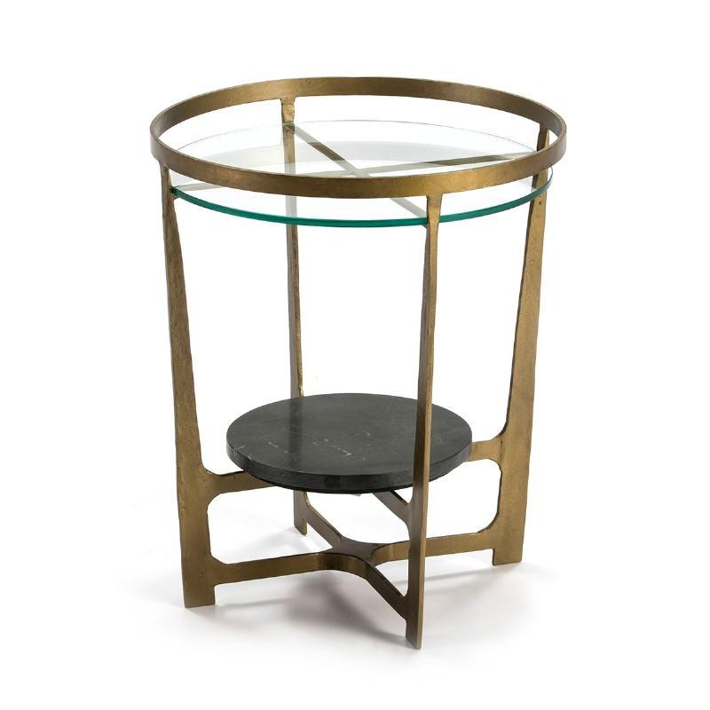 Table d'appoint, bout de canapé, bout de canapé 51x51x61 Verre Métal Doré Pierre Noir