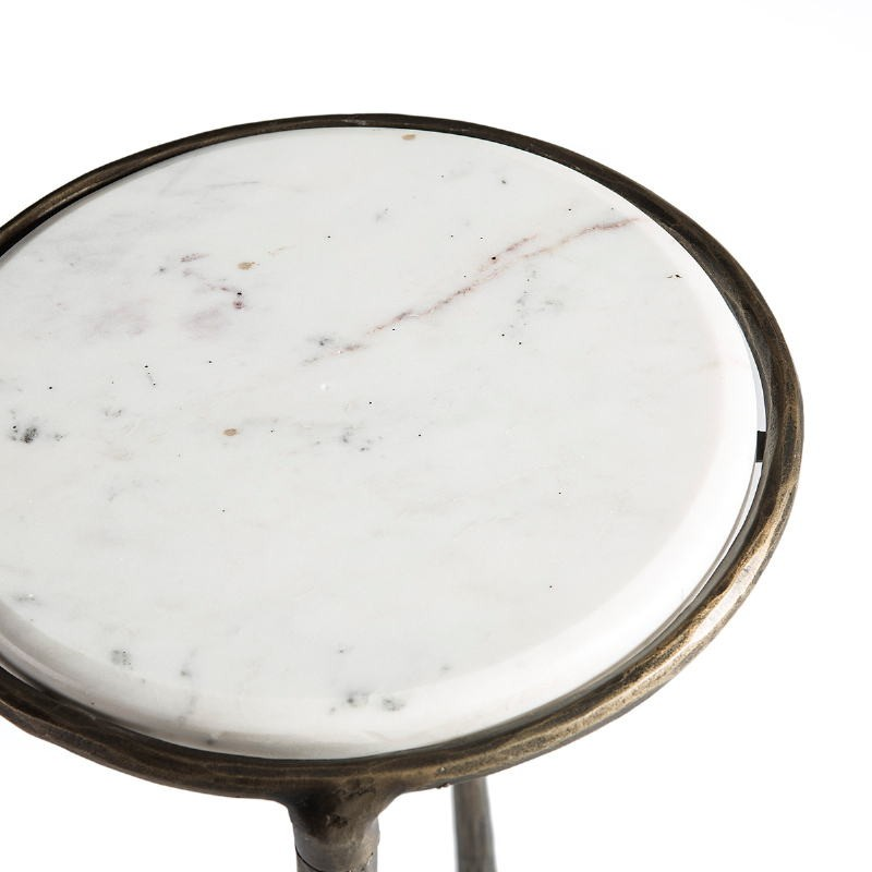 Side Table 68X32X62 Marble White Black Wrought Iron Golden - image 51503