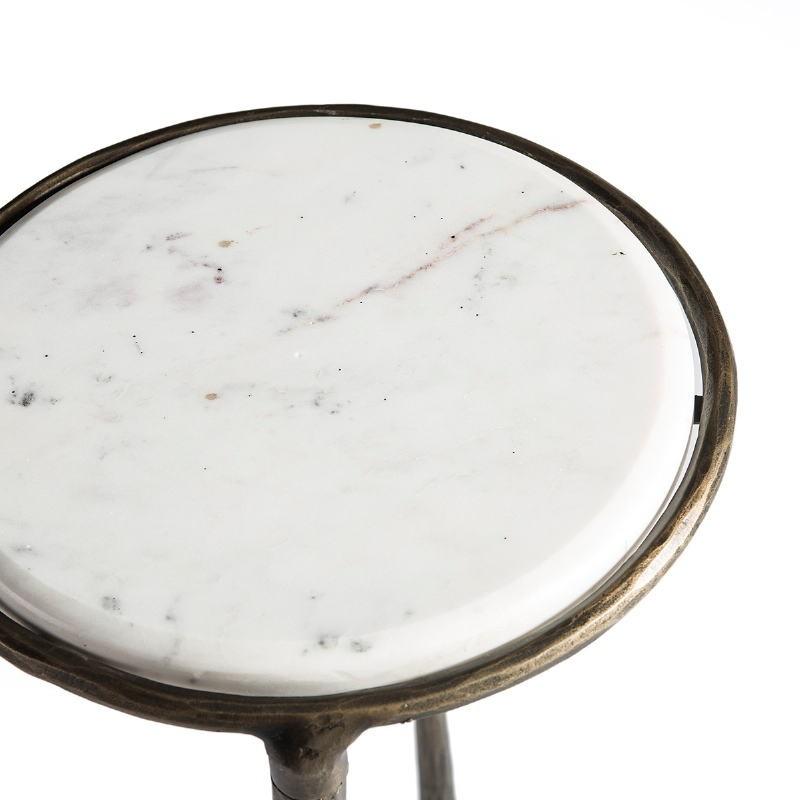 Table d'appoint, bout de canapé 68x32x62 Marbre Blanc Noir Fer Forgé Doré - image 51503