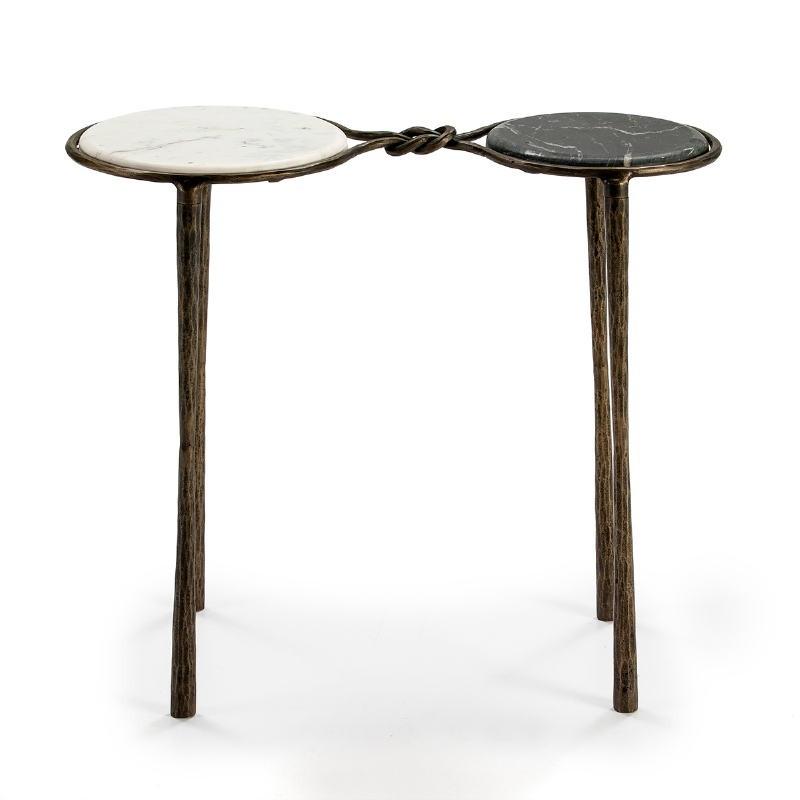 Table d'appoint, bout de canapé 68x32x62 Marbre Blanc Noir Fer Forgé Doré - image 51505