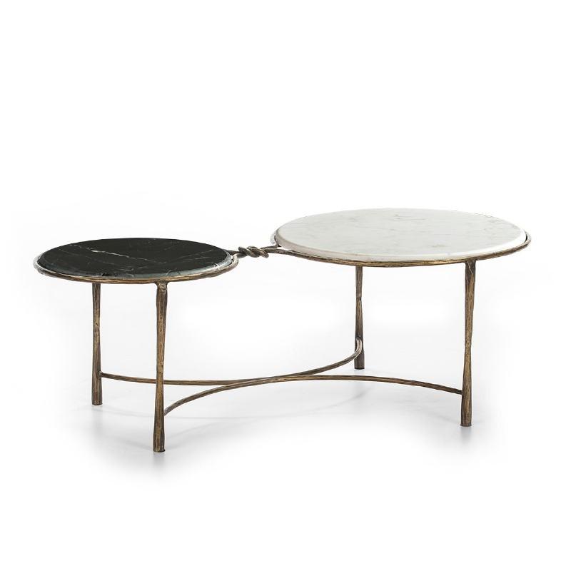 Coffee Table 120X62X40 Marble White Black Wrought Iron Golden - image 51509