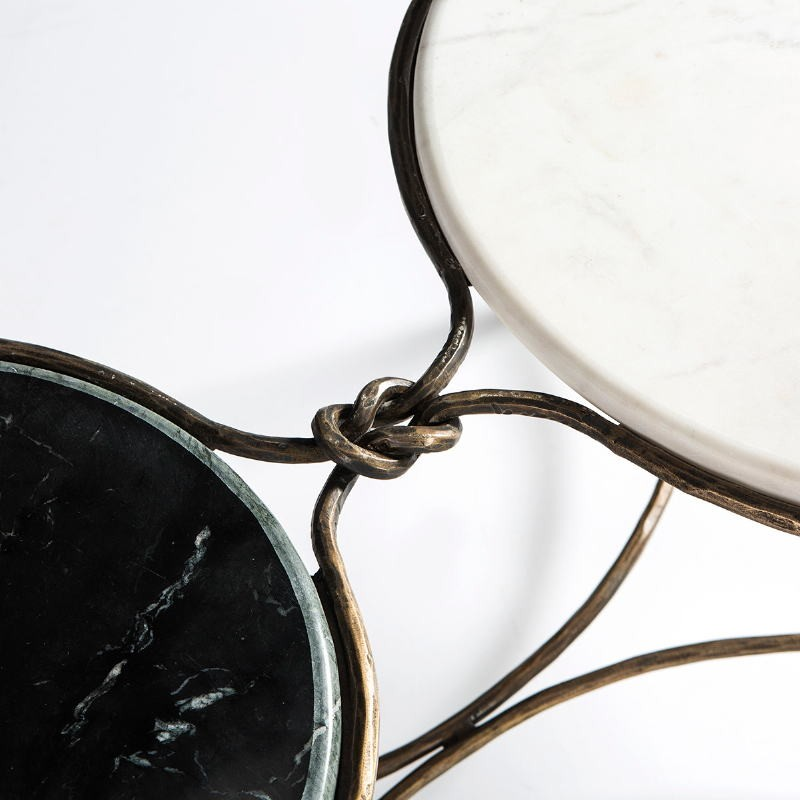 Coffee Table 120X62X40 Marble White Black Wrought Iron Golden - image 51512