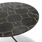 Coffee Table 80X80X44 Marble Black Metal Golden Antique