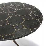 Table basse 80x80x44 Marbre Noir Métal Doré Antique