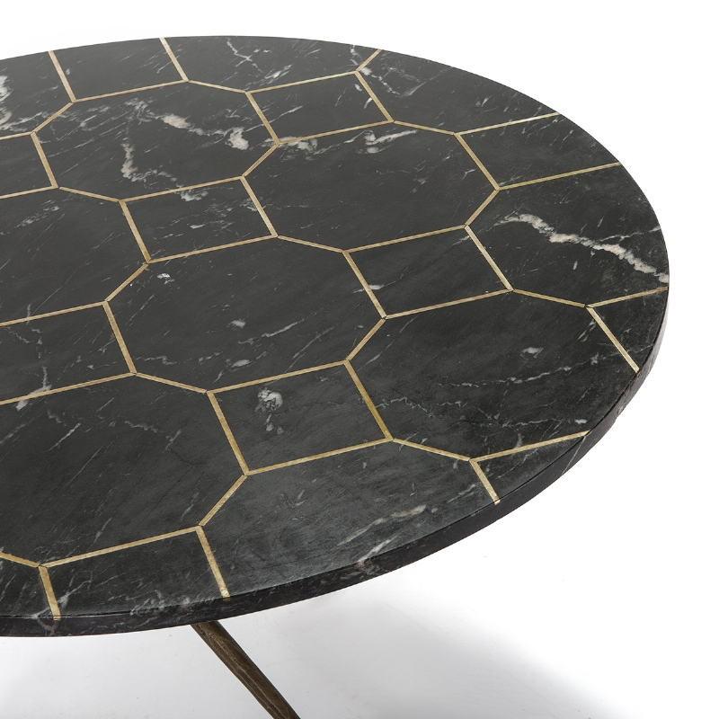 Table basse 80x80x44 Marbre Noir Métal Doré Antique - image 51516