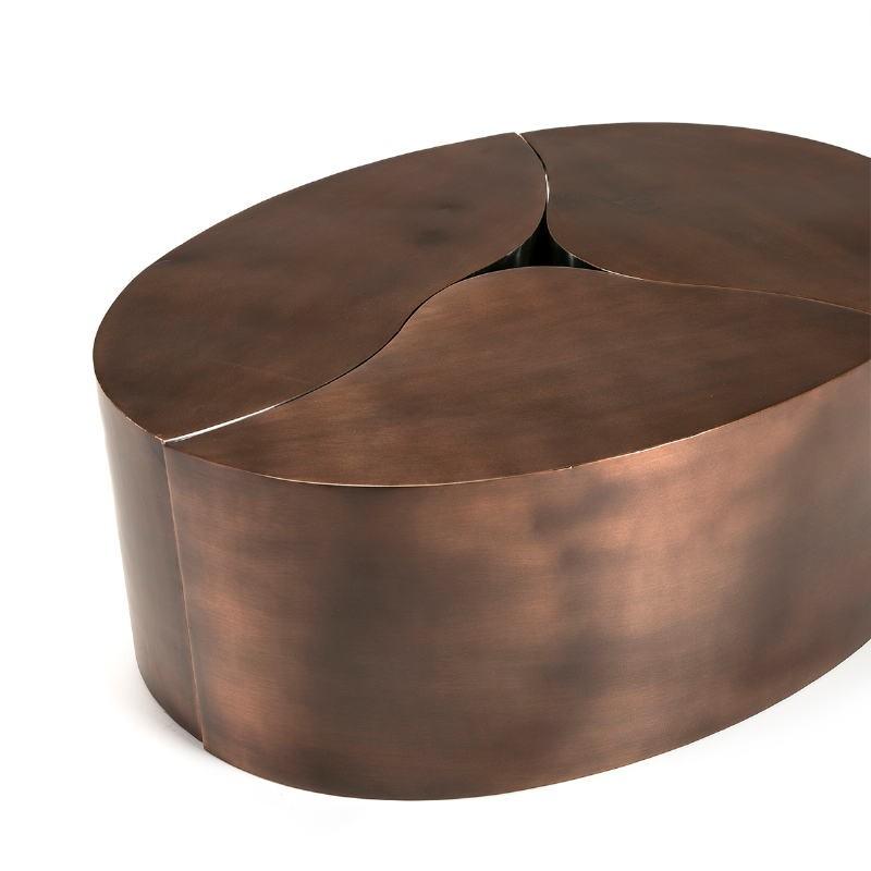 Kaffeetisch 103X76X35 Metall Kupfer Antiquität/Silber - image 51520