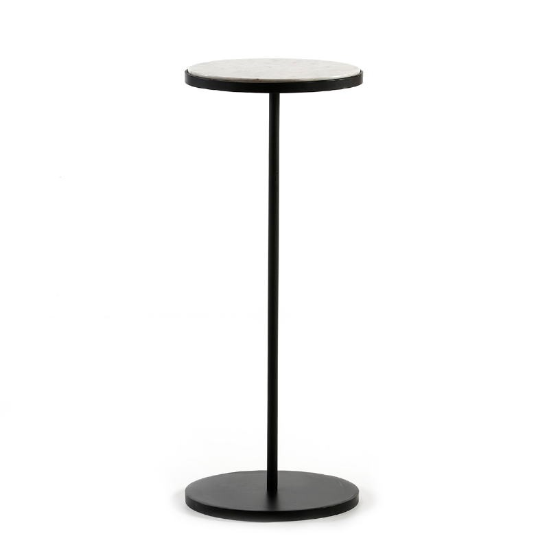 Side Table 33X33X83 Marble White Metal Black
