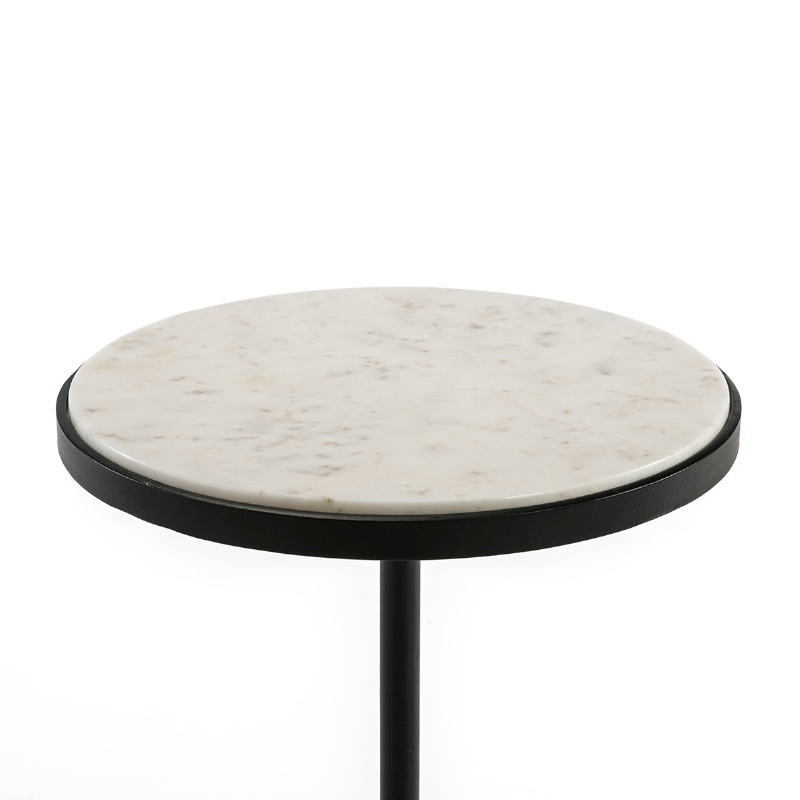 Side Table 33X33X83 Marble White Metal Black - image 51543