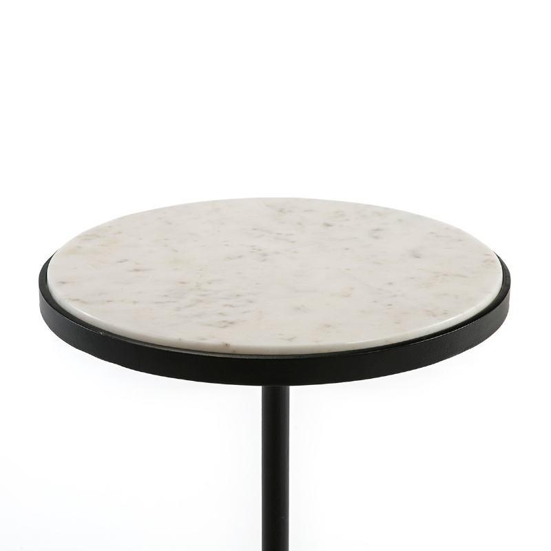 Table d'appoint, bout de canapé, bout de canapé 33x33x83 Marbre Blanc Métal Noir - image 51543