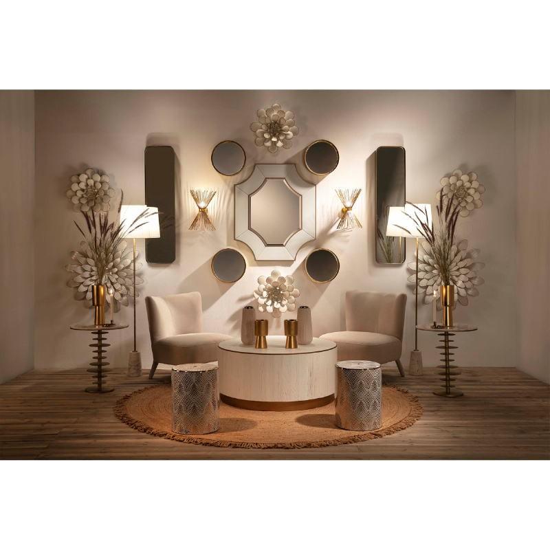Table d'appoint, bout de canapé, bout de canapé 50x50x58 Marbre Blanc Métal Doré - image 51545