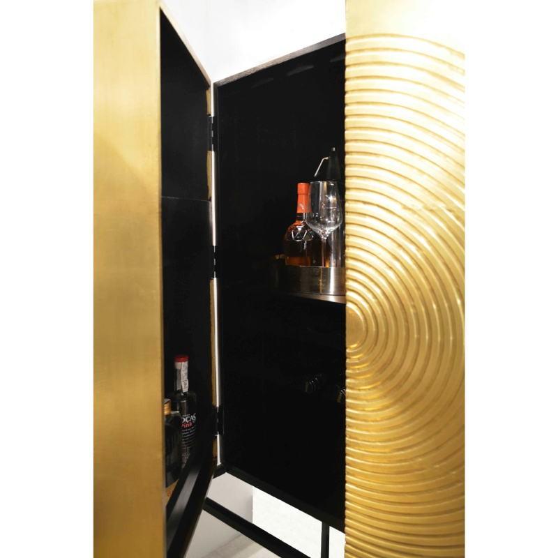 Bar 91x56x152 Bois Doré Noir Métal Noir - image 51548