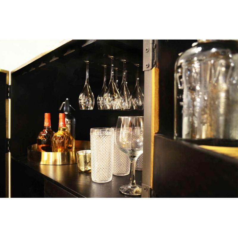 Mueble Bar 91X56X152 Madera Dorado Negro Metal Negro - image 51549