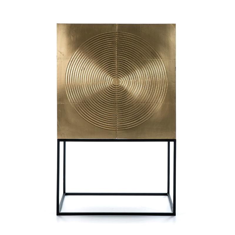 Bar Furniture 91X56X152 Wood Golden Black Metal Black - image 51554