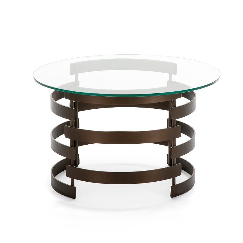 Coffee Table 76X76X46 Glass Metal Golden Aged - image 51557