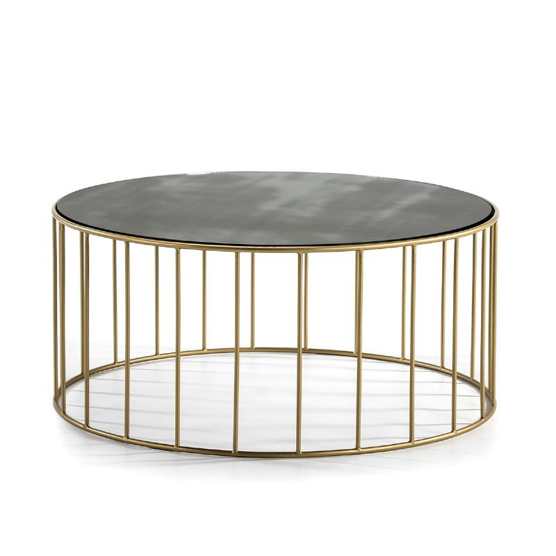 Coffee Table 101X101X45 Mirror Aged Metal Golden