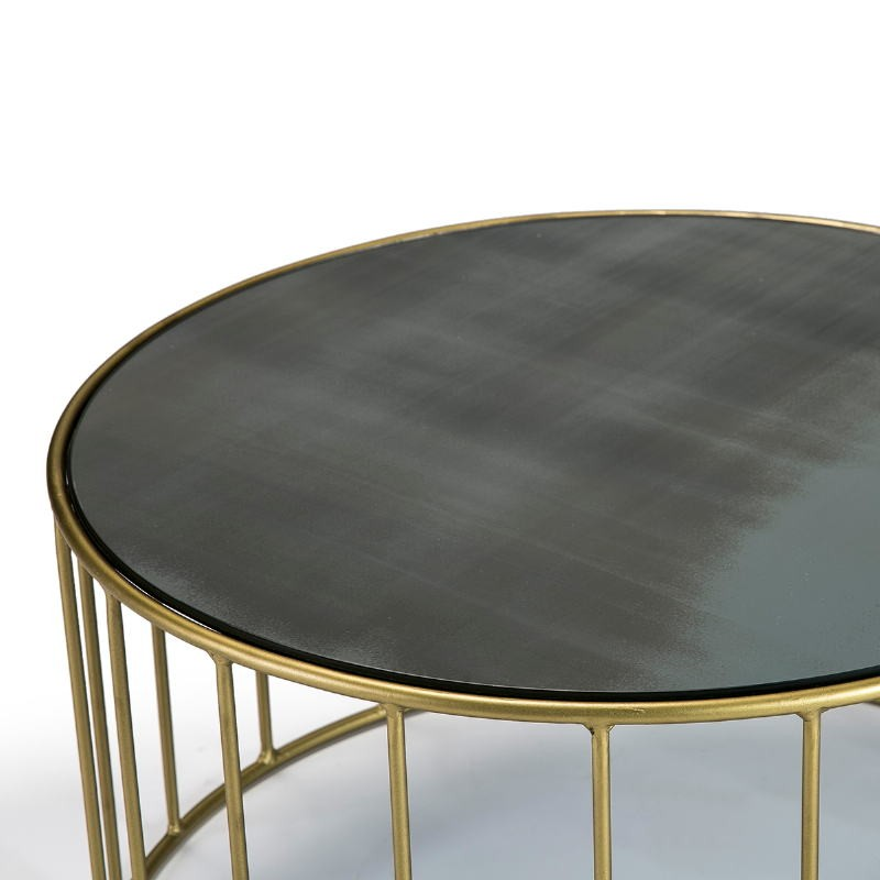 Coffee Table 101X101X45 Mirror Aged Metal Golden - image 51560