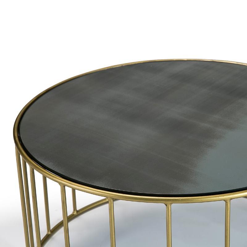 Table basse 101x101x45 Miroir Vieilli Métal Doré - image 51560