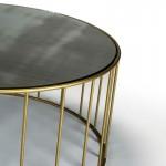 Table d'appoint, bout de canapé, bout de canapé 76x76x40 Miroir Vieilli Métal Doré
