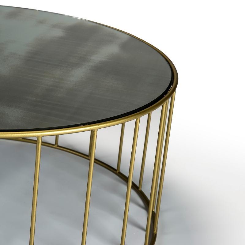 Table d'appoint, bout de canapé, bout de canapé 76x76x40 Miroir Vieilli Métal Doré - image 51562