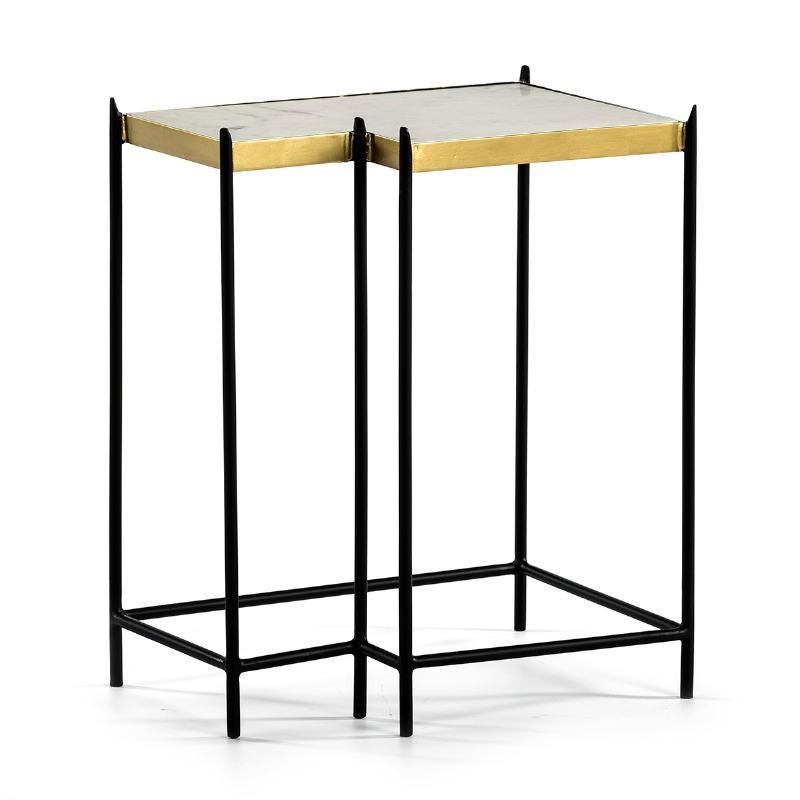 Table d'appoint, bout de canapé bout de canapé 48x32x60 Marbre Blanc Métal Doré Noir - image 51563