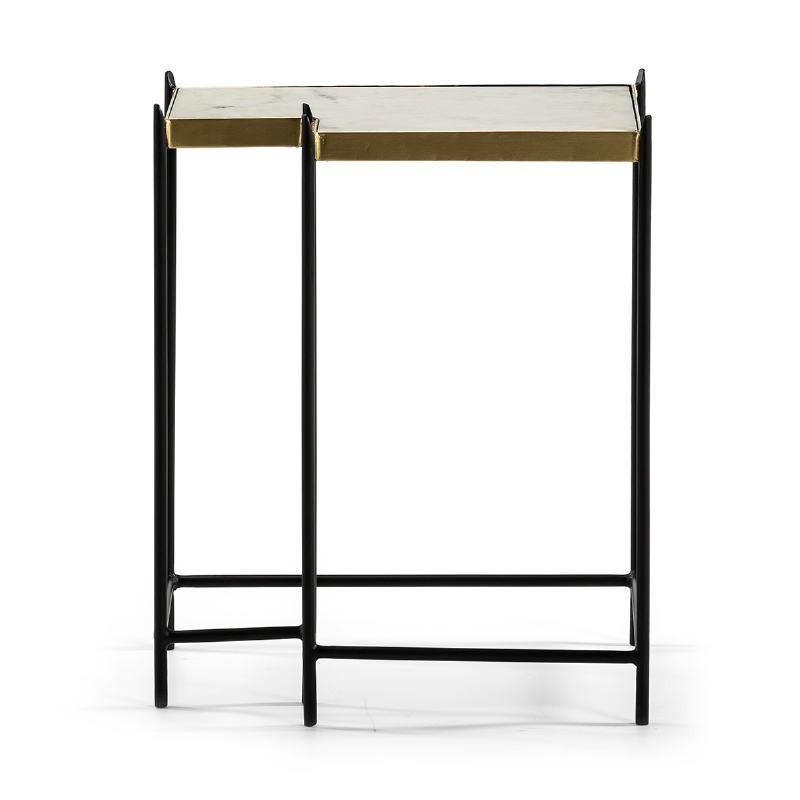 Table d'appoint, bout de canapé bout de canapé 48x32x60 Marbre Blanc Métal Doré Noir - image 51565