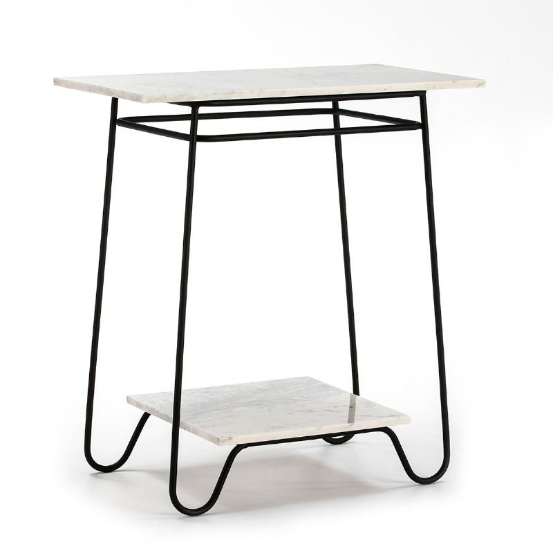 Side Table 71X41X78 Marble White Metal Black