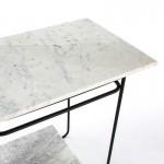 Hilfstisch 71X41X78 Marmor Weiß/Metall Schwarz