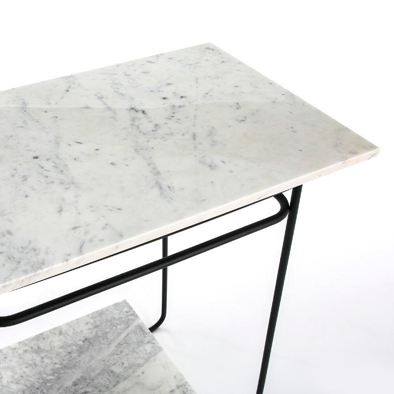 Table d'appoint, bout de canapé, bout de canapé 71x41x78 Marbre Blanc Métal Noir - image 51567