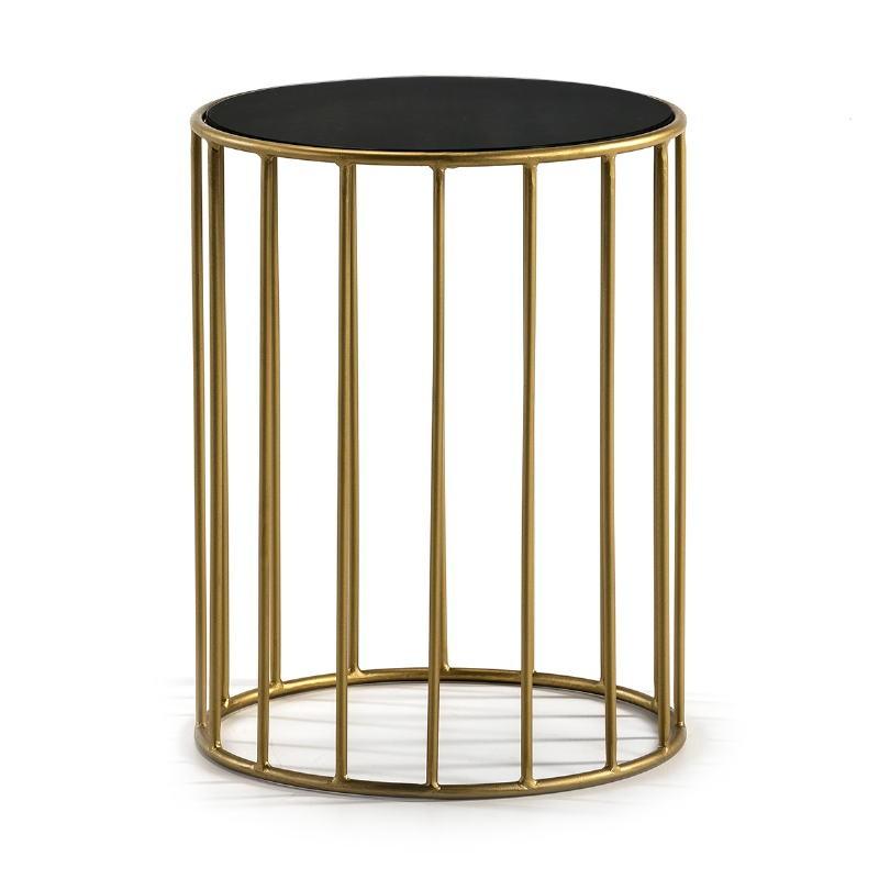 Table d'appoint, bout de canapé, bout de canapé 43x43x65 Miroir Noir Métal Doré