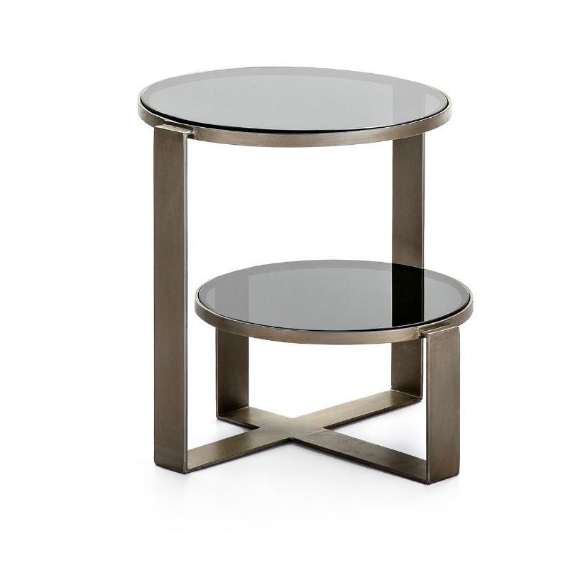 Hilfstisch 53X46X51 Rauchglas/Metall Antikes Silber