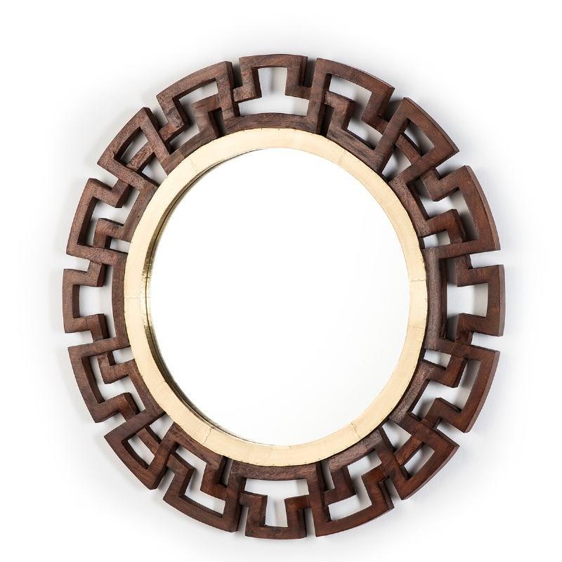 Mirror 92X3X92 Glass Tin Golden Wood Brown - image 51581