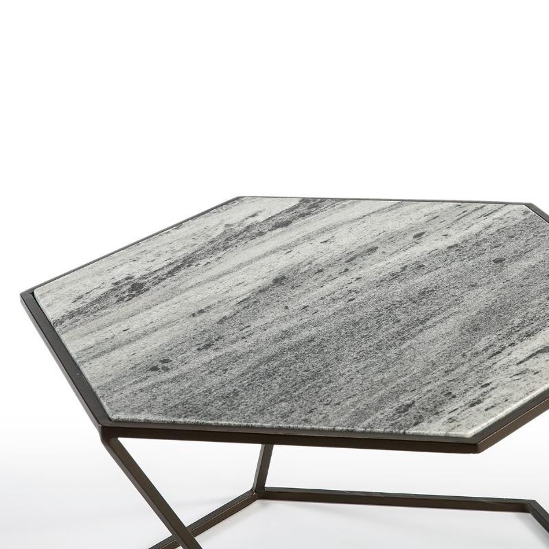 Table basse 61x61x41 Marbre Métal Marron Fonce - image 51587