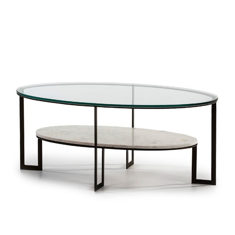 Table basse 107x62x44 Verre Marbre Blanc Métal Marron Fonce