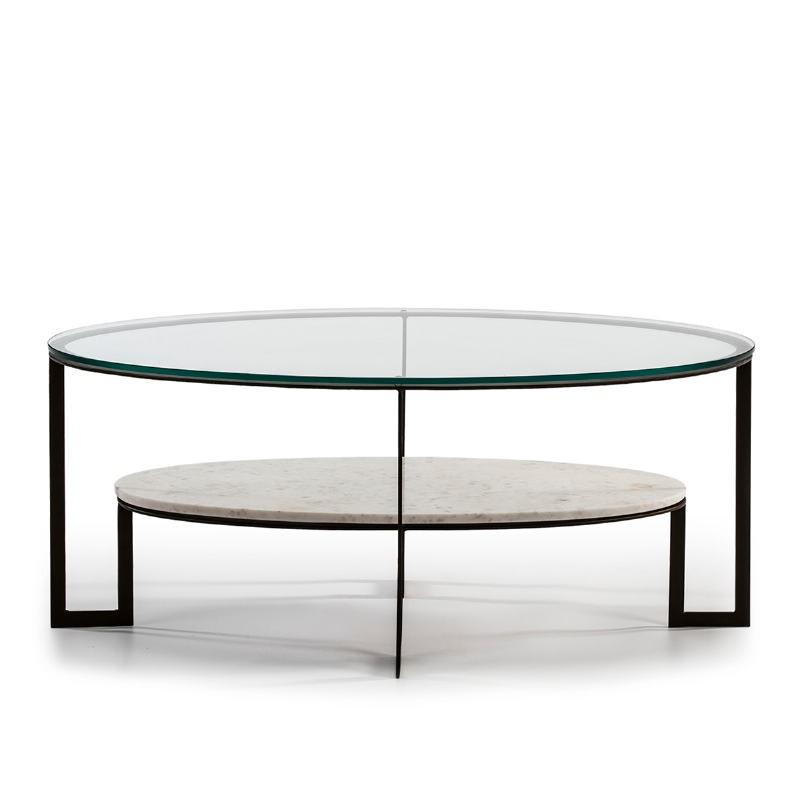 Table basse 107x62x44 Verre Marbre Blanc Métal Marron Fonce - image 51592