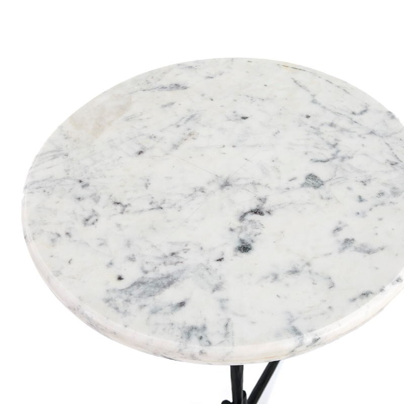 Side Table 46X46X58 Marble White Metal Black - image 51595