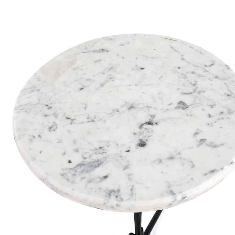 Table d'appoint, bout de canapé, bout de canapé 46x46x58 Marbre Blanc Métal Noir - image 51595