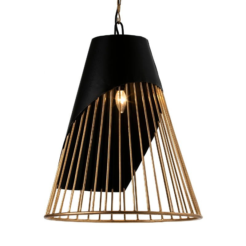 Lampada A Sospensione 52X52X69 Metallo Dorato Nero