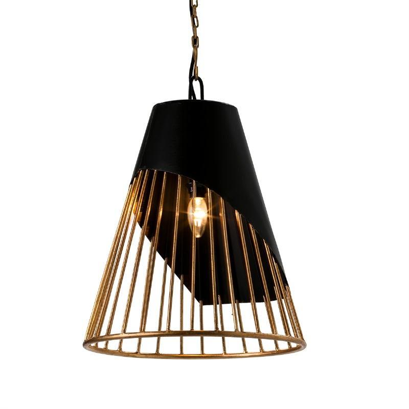 Lampe suspendue 40x40x53 Métal Doré Noir