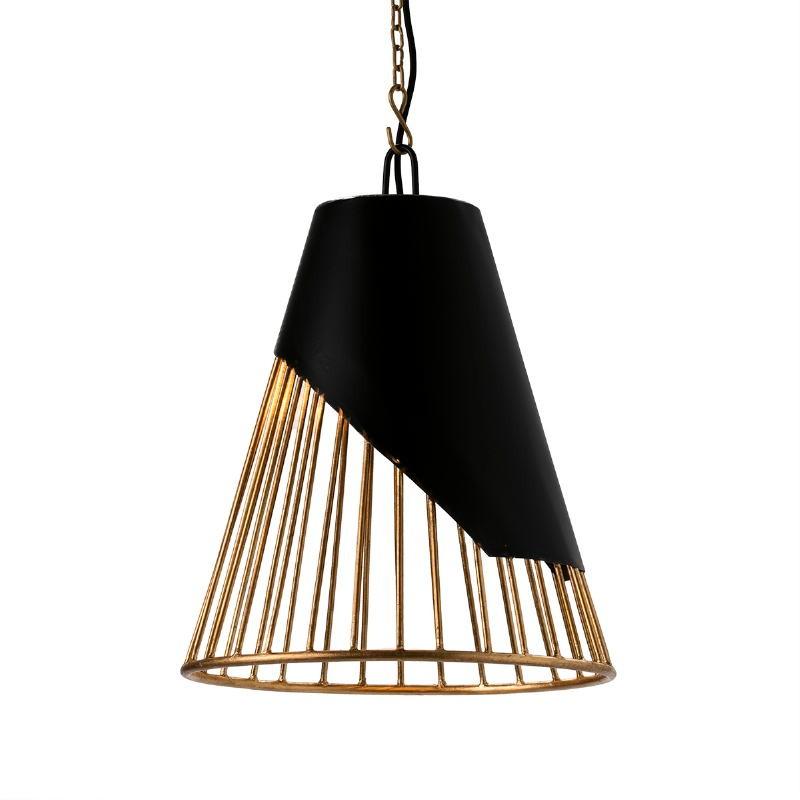 Hanging Lamp 40X40X53 Metal Golden Black - image 51605