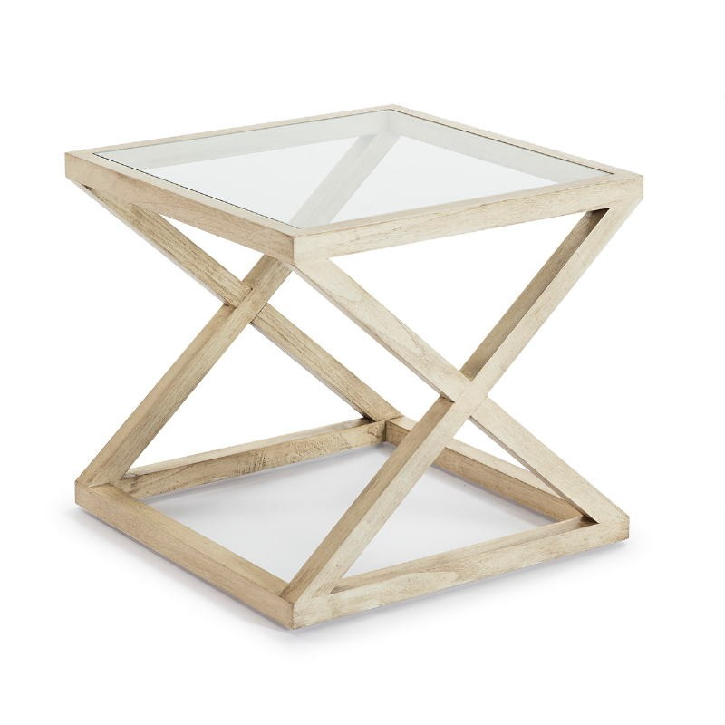Side Table 60X60X55 Glass Wood White Veiled - image 51615