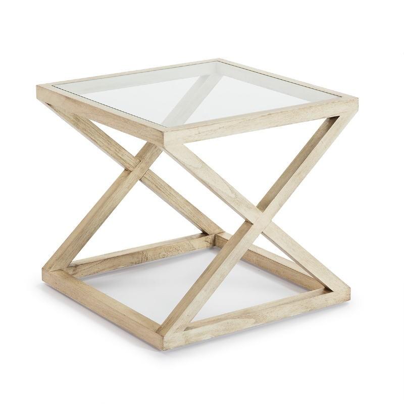Table d'appoint, bout de canapé, bout de canapé 60x60x55 Verre Bois Blanc blanchi - image 51615