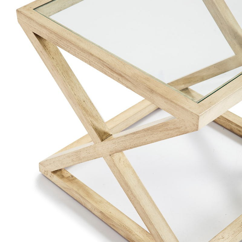 Side Table 60X60X55 Glass Wood White Veiled - image 51616