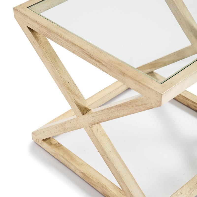 Table d'appoint, bout de canapé, bout de canapé 60x60x55 Verre Bois Blanc blanchi - image 51616