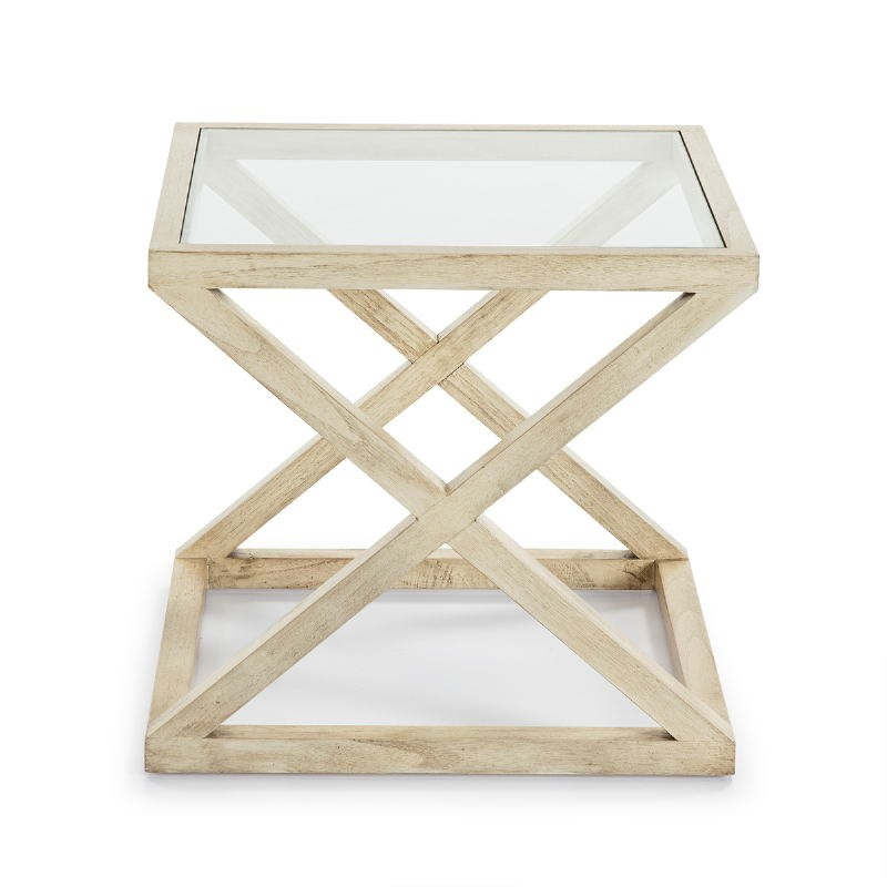 Side Table 60X60X55 Glass Wood White Veiled - image 51617