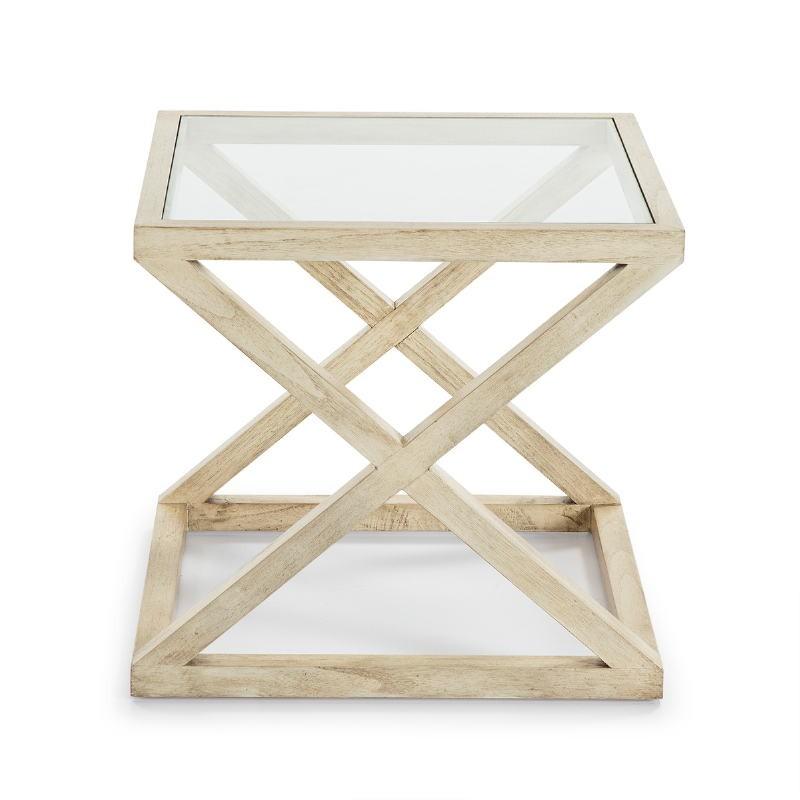 Table d'appoint, bout de canapé, bout de canapé 60x60x55 Verre Bois Blanc blanchi - image 51617