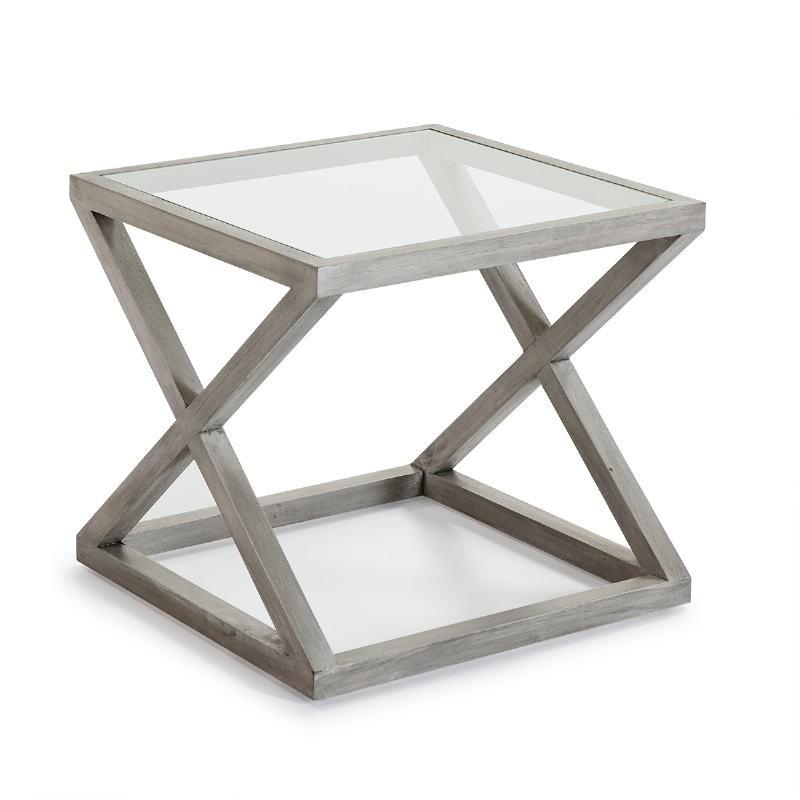 Table d'appoint, bout de canapé, bout de canapé 60x60x55 Verre Bois Gris blanchi - image 51619