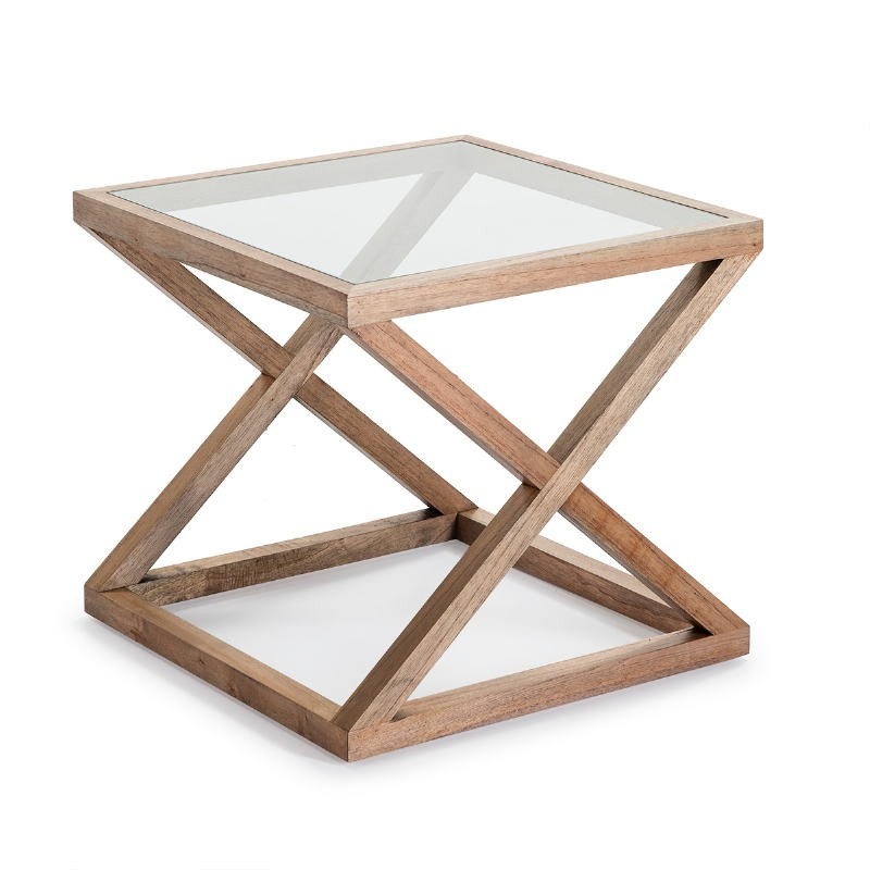 Side Table 60X60X55 Glass Wood Natural Veiled