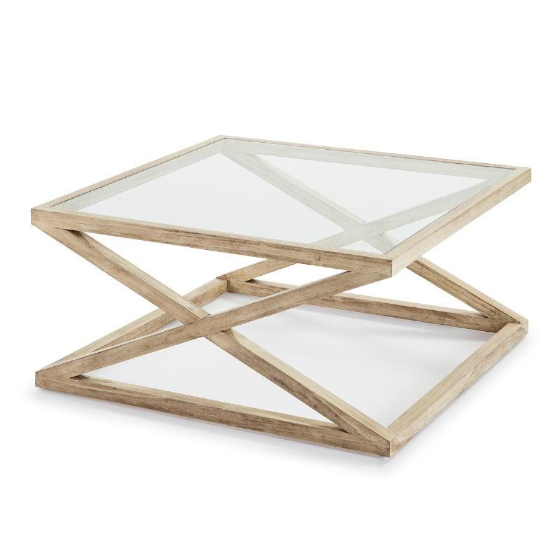 Table basse 90x90x45 Verre Bois Blanc blanchi