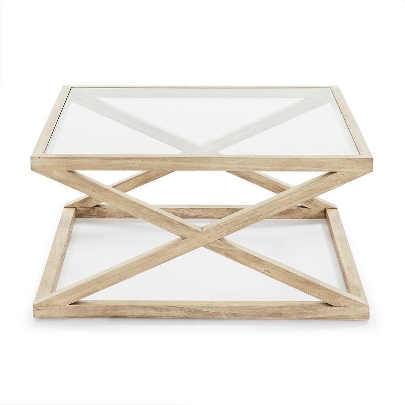 Coffee Table 90X90X45 Glass Wood White Veiled - image 51627